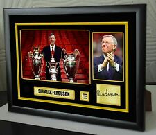 "Sir Alex Ferguson Framed Canvas Print Signed Great Gift Ltd Edition ""Great Gift"""