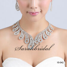 Fashion Women Bridal Wedding Party Prom Rhinestone Necklace Earrings Jewelry Set