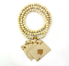 """WOODEN CASINO PLAYING CARDS PENDANT PIECE & 36"""" CHAIN BEAD NECKLACE GOOD STYLE"""