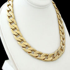 "Mens 11mm CUBAN Flat CURB Link 24K GOLD Layered 20"" Necklace 93g + LIFETIME GUAR"