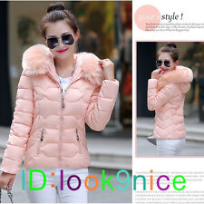 Winter Women Girls Slim Hooded Fur Collar Down Cotton Coat Quilted Jacket Puffer
