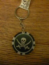 PIRATE CHIP KEYRING*SKULL & SWORDS*PARTY BAG FILLER/ PRIZES*BOYS*NOVELTY*