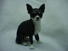 CHIHUAHUA dog HAND PAINTED FIGURINE Black White Puppy NEW resin Statue