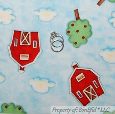 BonEful Fabric FQ Cotton Quilt Blue Sky Cloud Red Farm Barn Green Tree Dot Baby