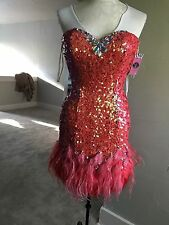 Stunning Sequin & Feather Prom Dress, NWT