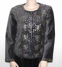 NEW DG2 By Diane Gilma SIZE Medium Sequined & Beaded Embellished Velvet Jacket