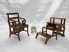 Miniature 1:12 Scale Library Steps Chair For Doll House  [Finished in walnut]