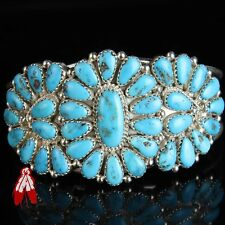 Vintage Navajo natural Turquoise cluster bracelet Native American pawn jewelry