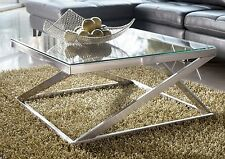 MODERN SQUARE COFFEE COCKTAIL TABLE GLASS LIVING ROOM CHROME NICKEL METAL T136-8