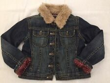 Baby Gap Girl's Jean Denim Jacket Faux Fur Collar Sweater Lined *XL 4 years