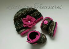 NEW Newborn Baby Girl Crochet Camo Hunting Hat and Booties Crochet Photo Prop