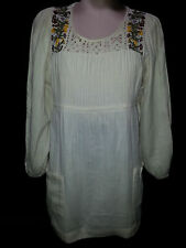 H&M Womens Pullover Embroidered Long Sleeve Blouse Shirt Size 6 M Medium Ivory