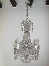 ~c 1940 Italian Beaded Crystal Basket Silver Chandelier GORGEOUS RARE EXQUISITE~
