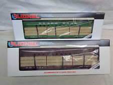 Set of 2 1990 Lionel O Gauge Southern I Beam Cars w/ Wood Load 6-16371&6-16372