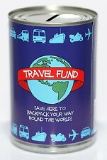 Travel Fund Savings Tin | Money Box Saver - STANDARD Holds upto £260