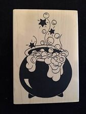 BUBBLING CAULDRON Validated Rubber Stamp WITCH BREW Halloween Boiling Potion
