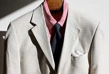 Norm Thompson 40R Ivory, Grey, & Blue Check Seersucker 3-Button Sport Coat