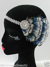 1920s Silver White Peacock Feather Headpiece Vintage Flapper Headband Deco Q28