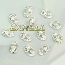 12 Accessori Decorazione Unghie 3D Teschio Argento in Strass 10x7mm Nail Art