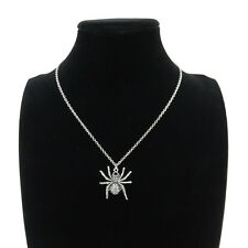 """Silver Alloy Animal Spider Pendant Short Chain Collar Necklace 18"""" Child Party"""