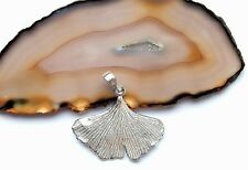 WOMEN's HAND MADE PENDANT * GINKGO LEAF * STERLING SILVER 925 ARTISAN JEWELRY