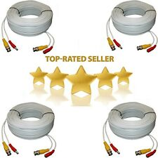 4 lot 100ft White Security Camera Cable CCTV Video Power Wire BNC RCA Cord New