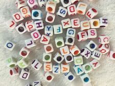 100pcs colourful 6mm cube acrylic letter/alphabet beads