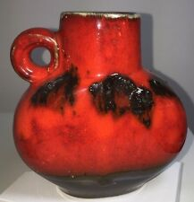 Superb 'Fat Lava' Jug Vase - Red and Black with Black Crusty Lava 1970's   5""