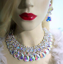 Drag Queen Rhinestone Necklace Earring Set AB Bridal Jewerly Large Pageant