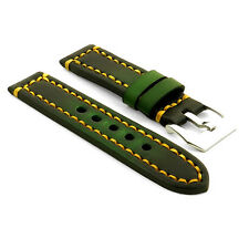 StrapsCo Green Thick Vintage Watch Band Strap w/ Heavy Duty Contrast Stitching