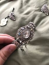 RARE VINTAGE SIGNED HOBE Teardrop RHINESTONE BRACELET! With Earrings