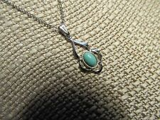 Dainty Sterling Silver Pendant Necklace w/Turquoise Accent & Sterling Chain 50%