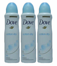 3 Pack Dove Cotton Dry Anti-Perspirant Deodorant Spray 48 Hour Protection 150 Ml