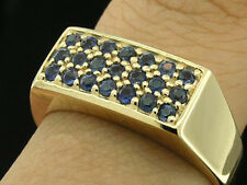 R153 -  REAL Genuine  9ct Solid GOLD NATURAL Sapphire Pave-set  RING size V