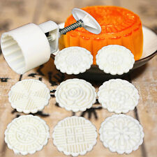 Round Baking Mooncake DIY Mold Pastry Biscuit Cake Mould Flower 75g + 8 Stamps