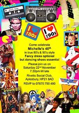 10 Personalised Fancy Dress Birthday Party Invitations 80s & 90s