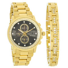 Citizen Eco-Drive Nighthawk Mens Gold Tone with Bracelet Watch FB3002-61E