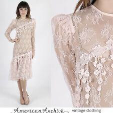 Vintage 80s Sheer Lace Dress Floral Deco Wedding Cocktail Party Pink Midi Mini