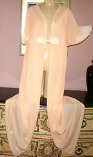 "VTG SIZE L/XL SOFT  NYLON NIGHTGOWN & PEIGNOIR ROBE LACY  PEACH BUST 44"" to 48"""
