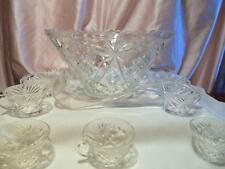 Vintage Star Of David EAPC Punch Bowl With 9 Cups Ladel