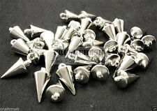 35pcs Silver Cone Spikes Beads Charms Pendants Jewelry Finding Spacer Bead F1294