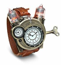 Tesla Steampunk Watch Chronometer Scientist Brass Vacuum Men Christmas Gift LED