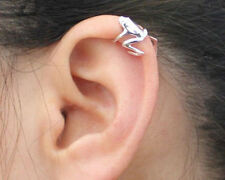 Silver Frog Animal Figure Cartilage Ear Cuff Wrap Clip Earring