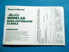MARLIN MODEL 60 SEMI-AUTO 22 CALIBER RIFLE OWNER'S MANUAL dated 9/86