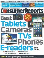 Consumer Reports Magazine December 2012 Tablets Cameras TVs Phones E-Readers