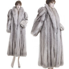 Mint! Glamorous Thickest Highest Quality Real Silver Fox Fur 51 in. F/L Coat