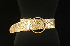 LADIES BRASSY BRONZE ADJUSTABLE CRISS-CROSS BELT, BRONZE TONE CIRCLE BUCKLE SC16