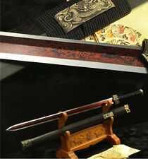 42' DAMASCUS FOLDED STEEL  RED BLACK WOOD CHINESE HAN SWORD