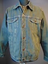 LEE DENIM JACKET Blue Jean Coat Men Size Med South Western Cowboy Fleece Liner