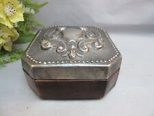 Beautiful wood box with ornate hand tooled metal lid
